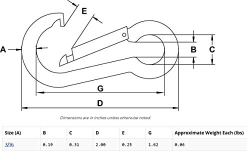3/16'' T316 Stainless Steel Carabiner Clip Snap Hook Spring Karabiner Carabina Carbine (20) by Kerr (Image #1)