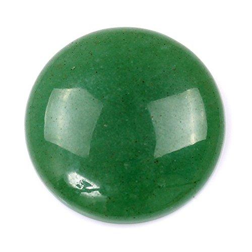 30 x 30mm Large Round Cabochon CAB Flatback Semi-Precious Gemstone Stone (Green - Gems Aventurine Cabochon
