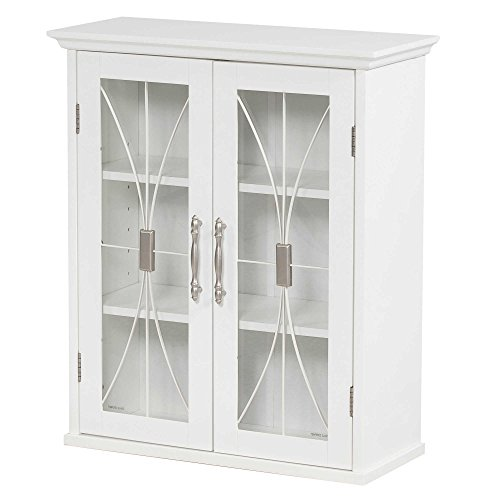 Elegant Home Fashions Collection Traditional Style 2-Door Shelved Wall Cabinet with Glass-Paneled Doors in White by Elegant Home Fashions