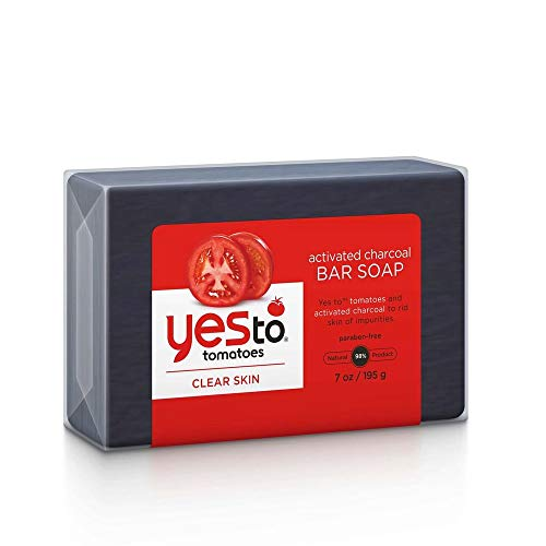 Yes To Tomatoes Bar Soap Activated Charcoal with Tomato Extracts and Sunflower Seed Oil Face, Body Soap for Men, Women and Teens No Paraben 7 Ounce Bar (Best Way To Keep Tomatoes Fresh Longer)