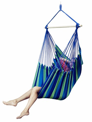 E EVERKING EverKing Large Brazilian Hammock Chair - Quality Cotton Weave for Superior Comfort & Durability - Extra Long Bed - Hanging Chair for Yard, Bedroom, Porch, Indoor, Outdoor by E EVERKING