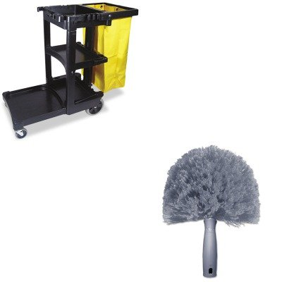 KITRCP617388BKUNGCOBW0 - Value Kit - Unger StarDuster CobWeb Duster (UNGCOBW0) and Rubbermaid Cleaning Cart with Zippered Yellow Vinyl Bag, Black (RCP617388BK)