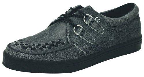TUK A8594 Carbón Negro Hombres MujeresCuero Unisex Creepers Zapatos Botas