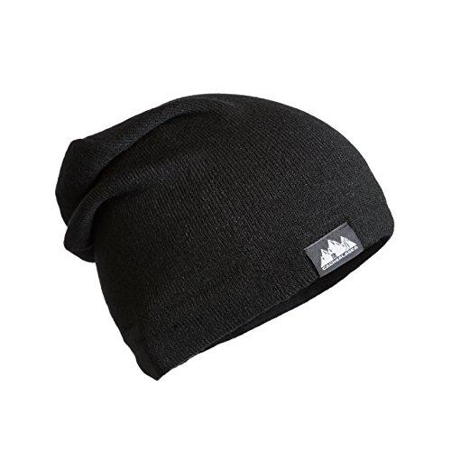 CacheAlaska - Slouchy Beanie - Cuff Skull Cap - Acrylic Knit hat for Men or Women - Black