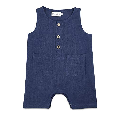 Babe Basics Cropped Linen Baby Romper | Baby Boy Summer Romper | Summer Photoshoot Outfit (Navy, 3-6 Months)