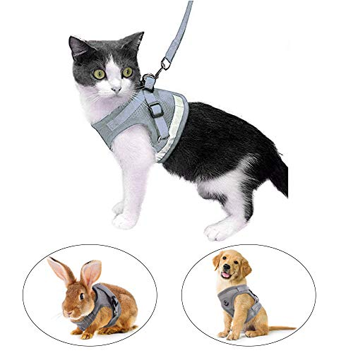 Kamots Beauty Escape Proof Cat Harness and Leash for Walking Adjustable Soft Mesh Pet Vest with Lead for Kitten Puppy Rabbit -(S,Grey)
