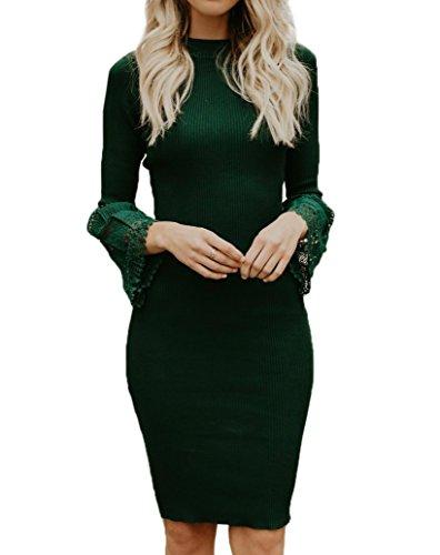 - Valphsio Women's Mock Neck Lace Bell Sleeve Sweater Dresses Knit Bodycon Midi Dresses