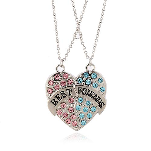 Heart Magnet - Lemonage Best Friend Necklace Crystal Pendant Magnet Jigsaw Heart Necklaces for Kids Girls Women, 2-Piece