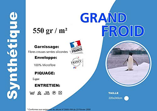 Douceur de France Made in France Couette Grand Froid Microfibre 220x240cm 550gr//m/² 2 Oreillers Offerts