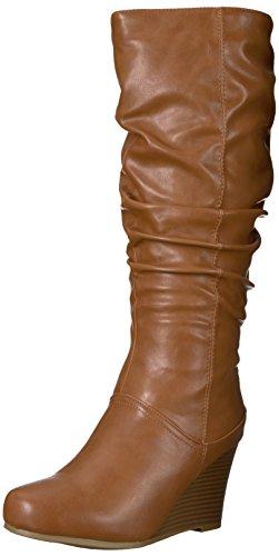 Brinley Co Womens Star Slouch Laars Regular & Wide Calf Chestnut