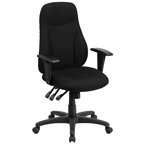 high-back-black-fabric-multi-functional-ergonomic-swivel-task-chair-with-height-adjustable-arms