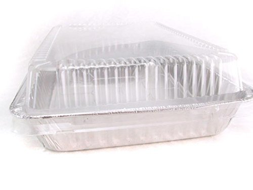 Disposable Aluminum 13 x 9 x 2 Cake Pan with Clear Plastic Lid #4700P (50) by Durable Packaging