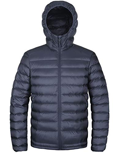 (HARD LAND Men's Hooded Packable Down Jacket Lightweight Insulated Winter Puffer Coat Outdoor Gray Blue Size)