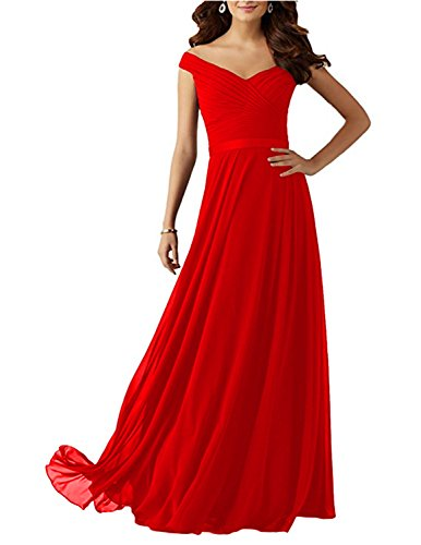 Udresses Neckline Off 2017 with Red Chiffon Plum The Shoulder Long Dress Bridesmaid Z21 rFwqarnW