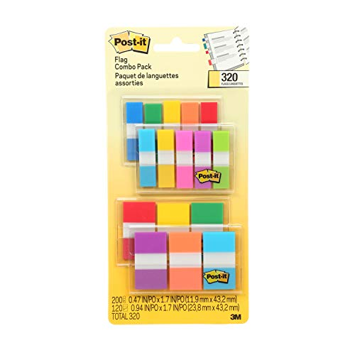 Post-it Flags Assorted Color Combo Pack, 320 Flags Total, 200 1-Inch Wide Flags and 120 .5-Inch Wide Flags, 4 On-The-Go Dispensers/Pack - Durable Marker Colored