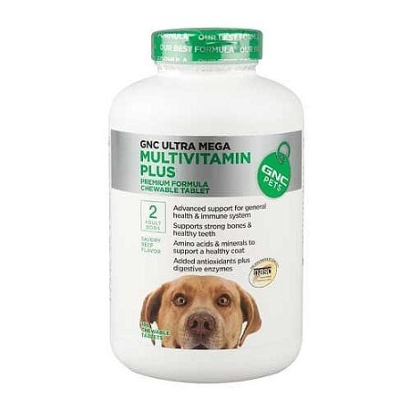 GNC Ultra Mega Multivitamin Plus / 2 Adult Dogs - Beef Flavor, 120 Chewable Tabs by GNC Pets
