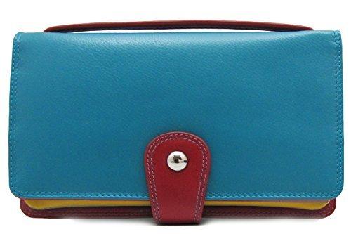 ili Leather 7879 Organizer Wallet Crossbody with RFID Blocking (Southwest)