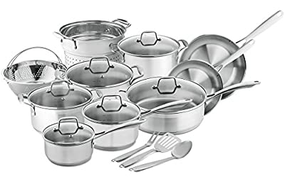 Chef's Star Professional Grade Stainless Steel Pots & Pans Set - Induction Ready Cookware Set with Impact-bonded Technology