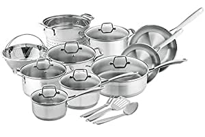 Chef's Star Professional Grade Stainless Steel 17 Piece Pots & Pans Set - Induction Ready Cookware Set with Impact-bonded Technology
