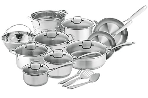 Chef's Star Professional Grade Stainless Steel 17 Piece Pots & Pans Set - Induction Ready Cookware Set with Impact-bonded Technology (Chefs Stainless Steel Sauce Pan)