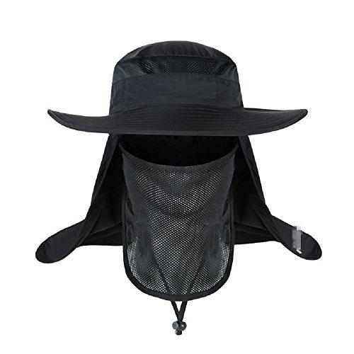 (Mens Outdoor Reaserch Sun Cap Bucket Mesh Boonie Hat Sun Protection Fishing Cap Neck Face Flap Hat Wide Brim (black))
