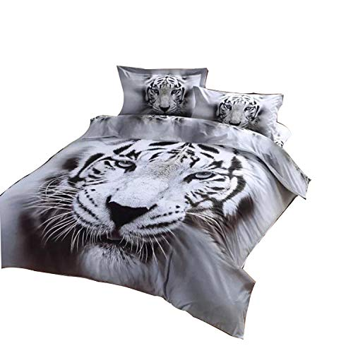 Cliab White Tiger Bedding Set Full Double Size 3D Animal Print for Kids Boys Teens Duvet Cover Set 7 Pieces(Fitted Sheet Included) (Animal Print Bedding Bedding)