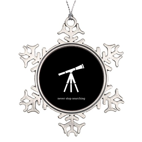 Telescope Ornament - Withyouc Never Stop Searching Telescope Personalised Christmas Tree Decoration Funny Snowflake Ornaments