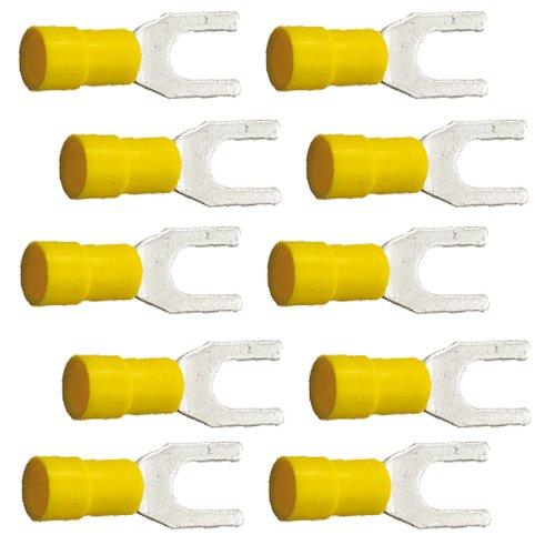 10 isol. Gabelkabelschuhe gelb M6 4, 0 bis 6, 0 mm² K24-Flachstecker
