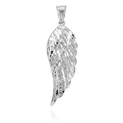 """Religious Jewelry by FDJ Textured 925 Sterling Silver Angel Wing Pendant, 2.3"""""""