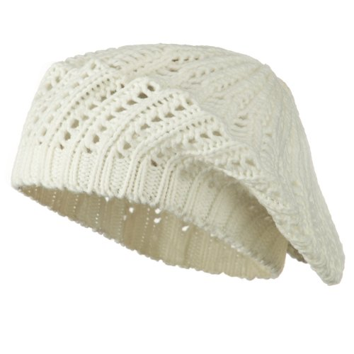 (Crocheted Knit Beret - White OSFM)