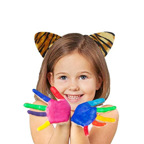 Halloween Cute Cat Ears Headband Kids Cosplay Costume Ears Bow Tie Tail set accessories for parties Bar events (Pack of 3) tiger ()
