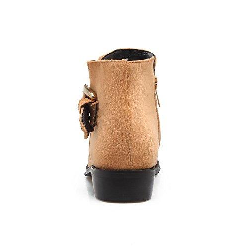 AgooLar Damen Blend-Materialien Spitz Zehe Niedriger Absatz Reißverschluss Rein Stiefel, Gelb, 38