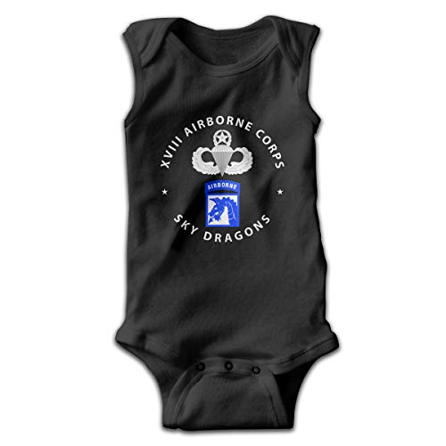 - SKEE&Ailfre 18th Airborne Corps Master Parachutist Badge Baby Sleeveless Jumpsuit Cute Kids Bodysuit Black