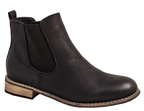 Elara Chelsea Boots | Bequeme Damen Stiefeletten | Lederoptik Blockabsatz |chunkyrayan Schwarz Monaco