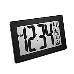 Marathon CL030068BK-BS Slim Panoramic Atomic Wall Clock Table Stand - Batteries Included (Black Frame/Black Stainless Finish)
