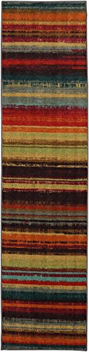 Mohawk Home Newe Wave Boho Stripe Multi Rug, 2' x 5' (Stripe Rug Red)