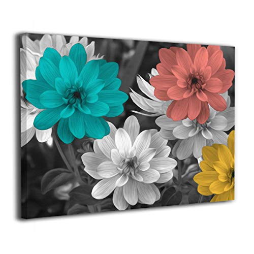 Okoart Flower Print Artwork Teal Coral Yellow Floral Pictures on Canvas Wall Art Ready to Hang for Bedroom Home Decorations 16x20inch ()