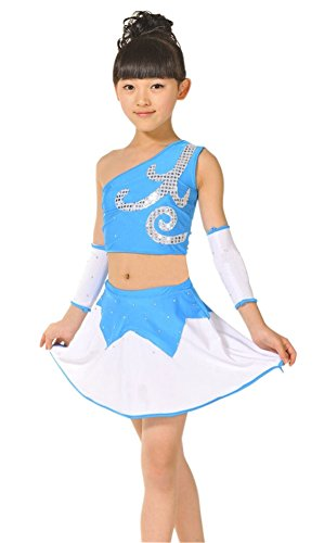 Gymnast Costume (Youthful Shinning Sequin Gymnastics Dress For Kids/130CM Height/Blue)