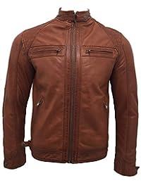 Men's Retro Rust Leather Racing Biker Jacket