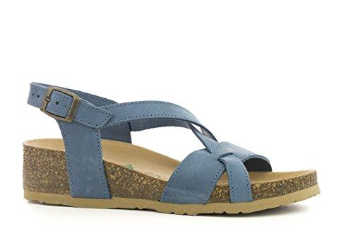 Bionatura - Sandalias de vestir de cuero nobuck para mujer Nabuk Jeans
