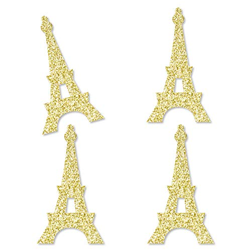 Eiffel Tower Cut Out (Gold Glitter Eiffel Tower - No-Mess Real Gold Glitter Cut-Outs - Paris Themed Baby Shower or Birthday Party Confetti - Set of)