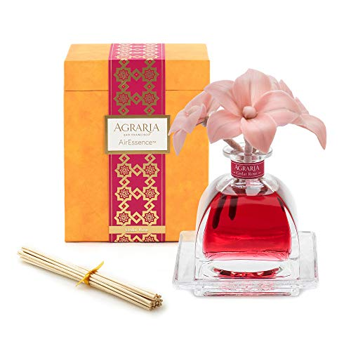 (AGRARIA AirEssence Luxury Diffuser Cedar Rose Scent, Includes 3 Sola Flowers and 20 Reeds 7.4 Ounces)