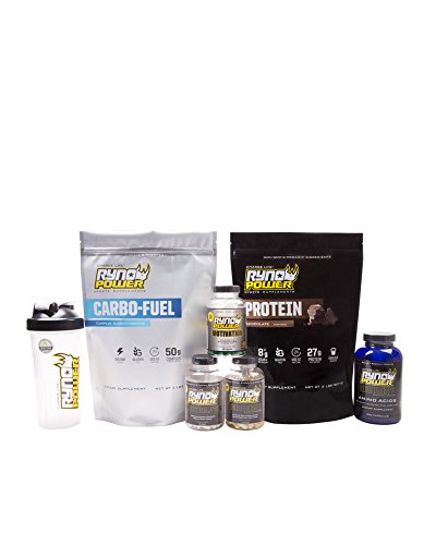 Ryno Power - Carbo Fuel and Protein Chocolate - Recovery Amino Acids, Motivation, Endurance, and Electrolytes Capsules - with Blender Bottle