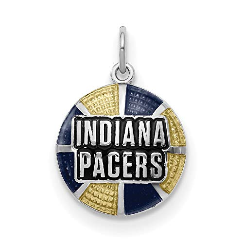 - Sterling Silver Indiana Pacers NBA Indiana Jewelry Pendants & Charms Yellow Blue 15 mm 23 mm Indiana Pacers Enameled Basketball Pendant