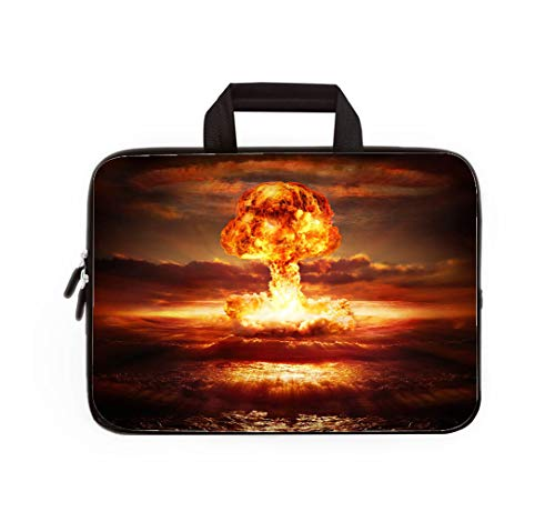 Double Zipper Laptop Bag,Explosion Nuclear Bomb in Ocean,13 inch Canvas Waterproof Laptop Shoulder Bag Compatible with 11.12.6