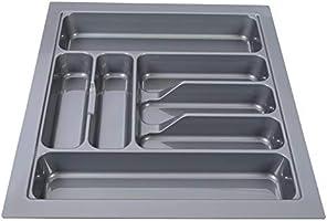 48 x 39 x 6cm Bandeja de Cubiertos de Cocina Caja de Almacenamiento de Cubiertos Tenedores y Cuchillos con 6 Rejillas Gris