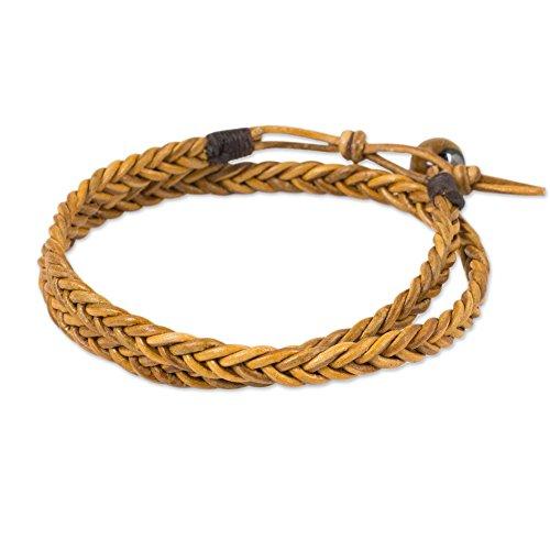 - NOVICA Tiger's Eye Braided Leather Men's Wrap Bracelet, 16.25