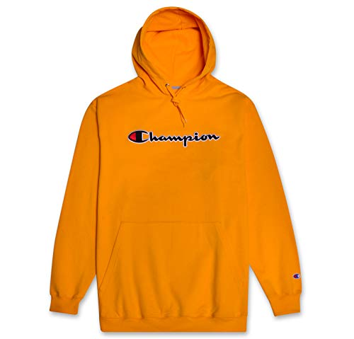 Champion Mens Big and Tall Hoodie Sweatshirt with Embroidered Script Logo Gold 6X