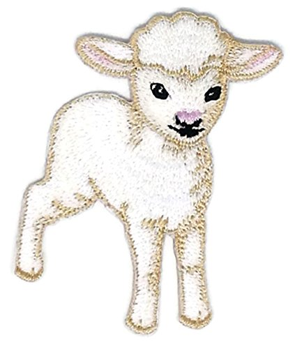 1.75 inches x 2.75 inches Baby Animal Sheep Lamb Wool Cartoon Patch Sew Iron on Embroidered Applique Craft Handmade Baby Kid Girl Women Cloths DIY Costume - Lamb Applique