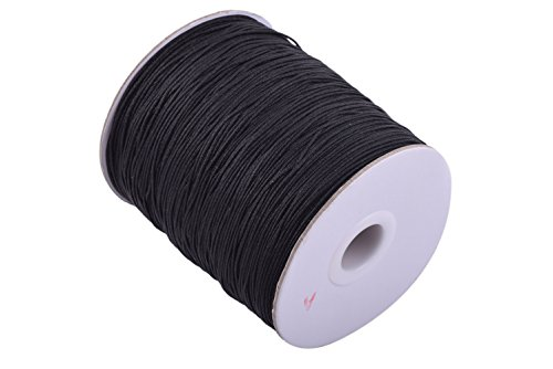 KONMAY 1 Roll 350yds Eco-Friendly 1.0mm Braided Nylon Shamballa MacramÃ/Beading Cord Kumihimo String Chinese Knot Braided Cord (Black 900)